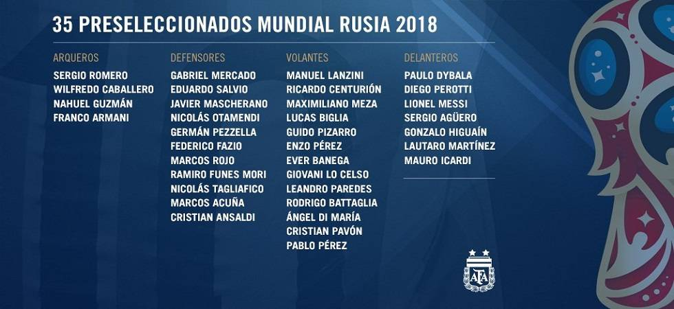 Jorge Sampaoli has named Argentina's 35-man provisional squad for FIFA World Cup