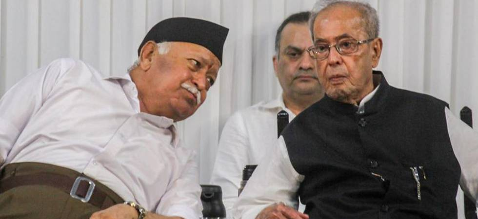 RSS Chief Mohan Bhagwat and Pranab Mukherjee (PTI photo)