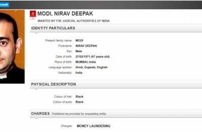 Interpol's Red Corner Notice against Nirav Modi in PNB fraud case