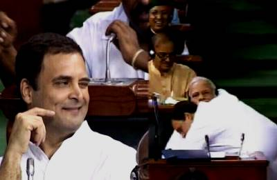 After the attack, Rahul winks and hugs Modi amid cheers and applause in House