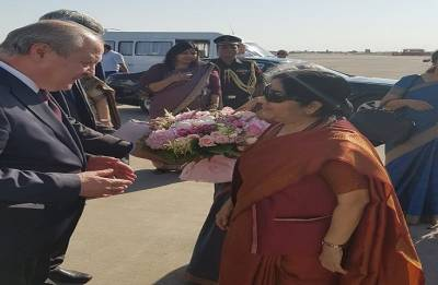 Sushma Swaraj leaves for home after Central Asian tour