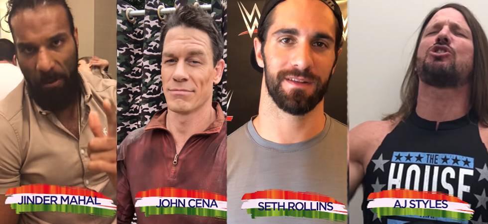 WWE Superstars John Cena, Jinder Mahal, Seth Rollins wish Indian fans on I-Day (Photo: WWE Facebook)