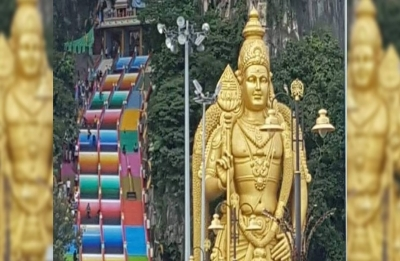 Famed Malaysian Hindu temple complex gets technicolour paint job