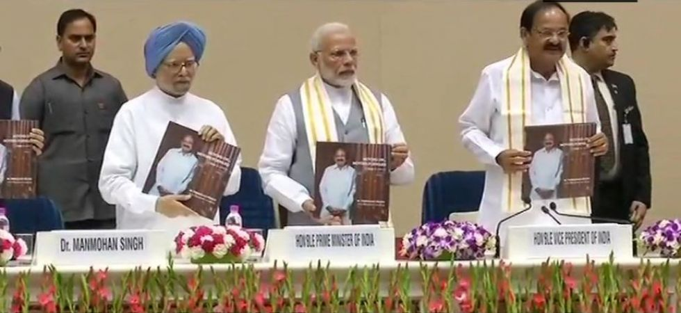 PM Narendra Modi releases Venkaiah Naidu's book 'Moving On… Moving Forward: A Year in Office' (Photo Source: ANI)