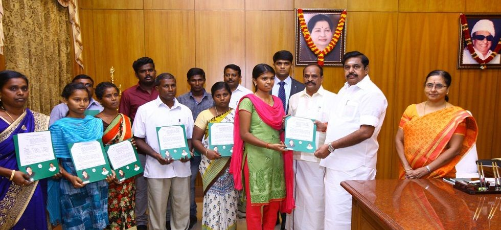 Tamil Nadu: CM hands over appointment letters to Tuticorin firing victims' kin (Photo- Twitter/@EPSTamilNadu)