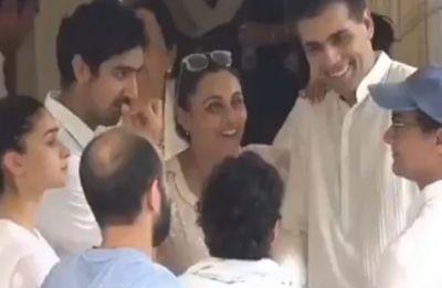 Twitterati shame Rani Mukherji, Karan Johar and Aamir Khan for cracking a smile at Krishna Raj Kapoor's funeral