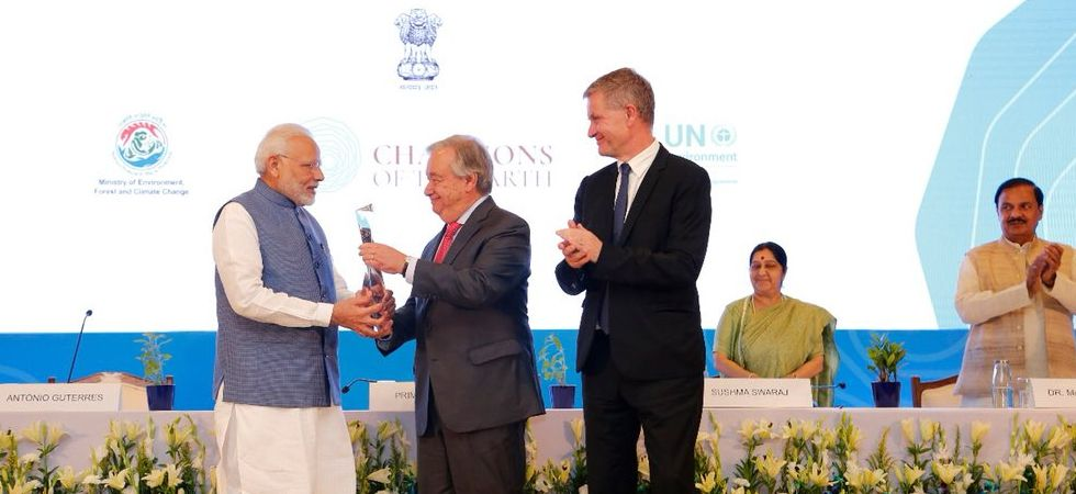 PM Narendra Modi awarded UN's 'Champions of the Earth Award' (Photo: Twitter)