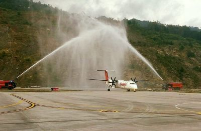 In a first, commercial SpiceJet flight landed in Sikkim's Pakyong airport