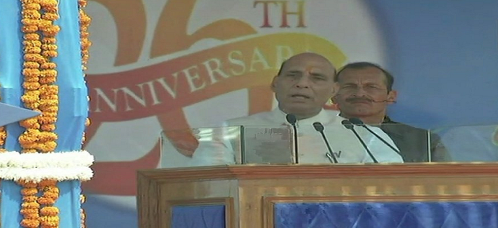 Union Home Minister Rajnath Singh in Lucknow on Sunday. (ANI/Twitter)