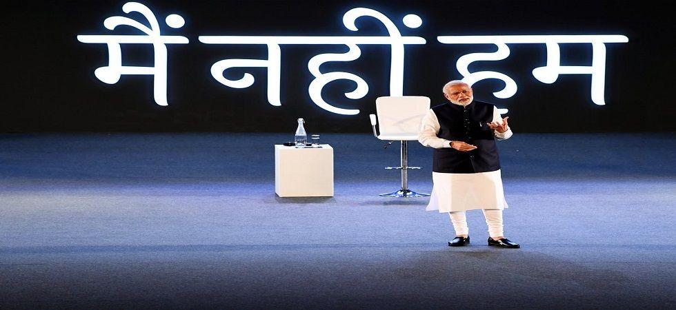 Prime Minister Narendra Modi at the townhall in New Delhi on Wednesday. (BJP/Twitter)