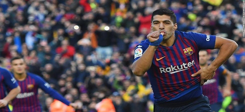 Luis Suarez's hat-trick gave Barcelona a thumping 5-1 win over Real Madrid in the 'El Clasico' encounter in the La Liga. (Image source: Twitter)