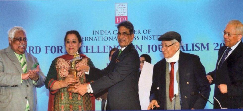 The Week journalist wins IPI-India Award for 'Naga underground camps' story (Photo- Twitter/@IndEditorsGuild)