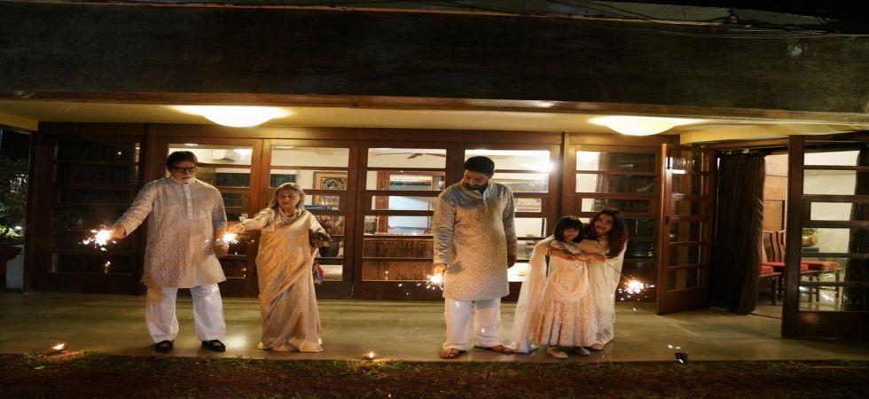 Amitabh Bachchan celebrates Diwali with Jaya, Abhishek, Aishwarya and Aaradhya in shades of creme and gold (Twitter photo)