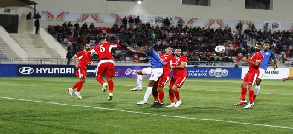 India's football team went down fighting 1-2 to Jordan in an international football friendly which was played in preparation for 2019 AFC Asian Cup. (Image source: Twitter)