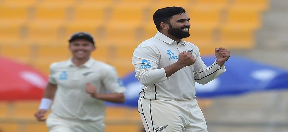 Ajaz Patel picked up 5/64 to give New Zealand their narrowest Test win in terms of runs in the Abu Dhabi Test against Pakistan. (Image credit: Twitter)