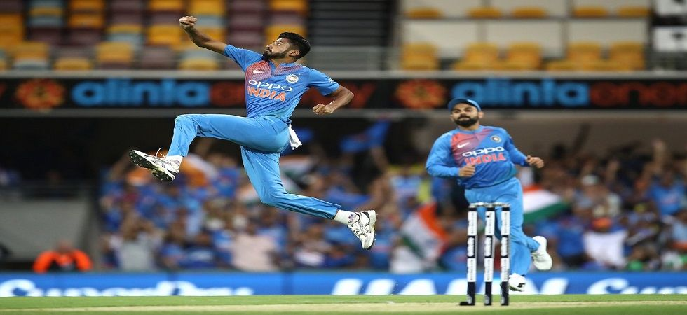 Khaleel Ahmed picked up two wickets in the T20I in Melbourne but the match ended in a no result due to rain. (Image credit: Twitter)