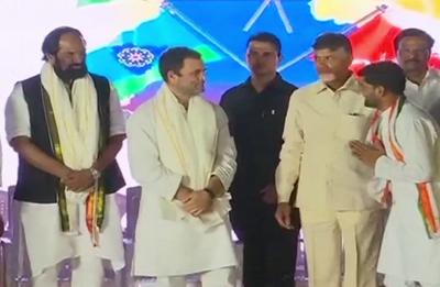 Telangana Elections: Rahul Gandhi shares dais with Chandrababu Naidu, calls TRS a 'B team' of BJP