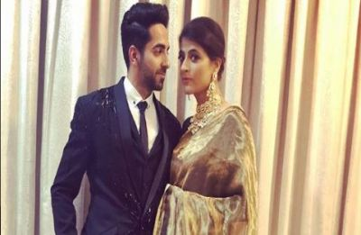 Tahira Kashyap, in her golden armour, accompanies Ayushmann Khurrana to DeepVeer reception
