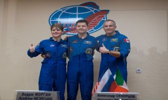 Russia launches Soyuz, the first manned mission, to International Space Station