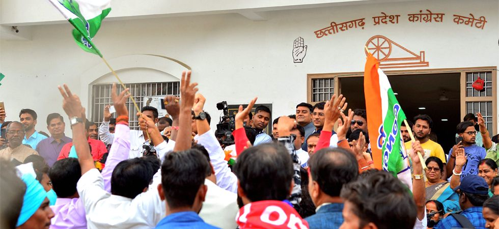 Congress workers celebrate party's victories in the Assembly elections of Rajasthan, Chhattisgarh and Madhya Pradesh at the party office in Raipur on Tuesday, December 11, 2018. (PTI photo)
