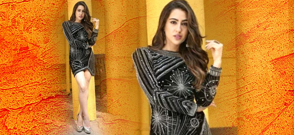 Sara Ali Khan stuns in a black dress at the promo of her next - Simmba to be released this December