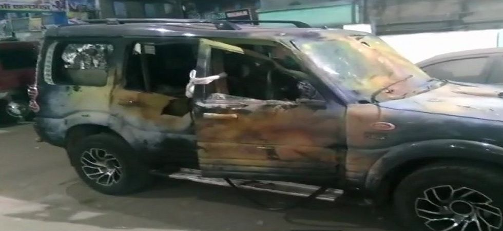 Unidentified persons fired bullets at the Jaynagar petrol pump in South 24 Parganas on the SUV for around five minutes before fleeing the spot (Photo: Twitter@ANI)