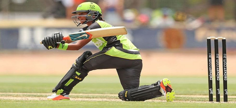 Harmanpreet Kaur took a stunning catch and contributed with the bat to help Sydney Thunder win against Adelaide Strikers in the Women's Big Bash League. (Image credit: Twitter)