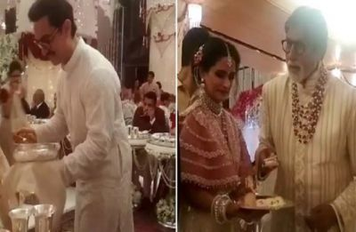 Watch Video of Amitabh Bachchan, Aamir Khan serving food at Isha Ambani's wedding