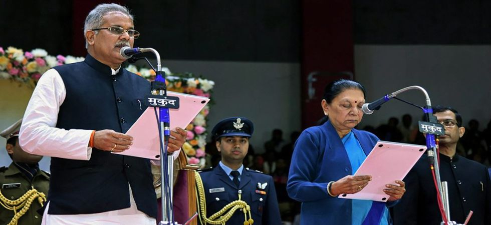 Chhattisgarh CM Bhupesh Baghel being administered the oath of office by Governor Anandiben Patel (Photo Source: PTI)