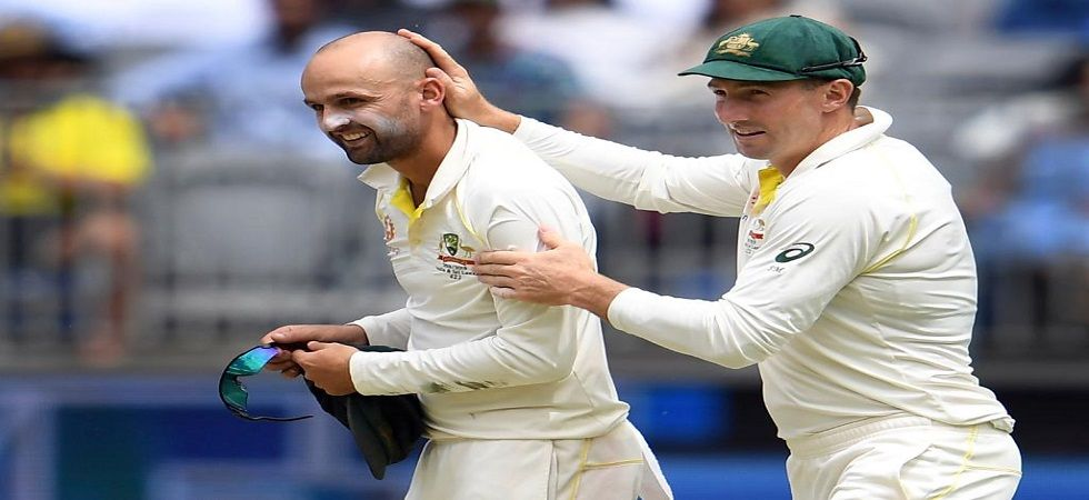 Nathan Lyon's seventh five-wicket haul put him level with Muttiah Muralitharan for most five-wicket hauls in Tests against India. (Image credit: ICC Twitter)