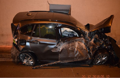 Watch: BMW car mounts ramp, hits tunnel roof, falls back on road