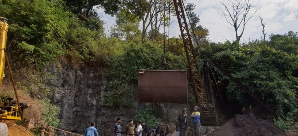 Rescuers works on as 15 miners were trapped inside a coal pit filled with gallons of water in Meghalaya's East Jaintia Hills district on December 13 2018. (IANS photo)