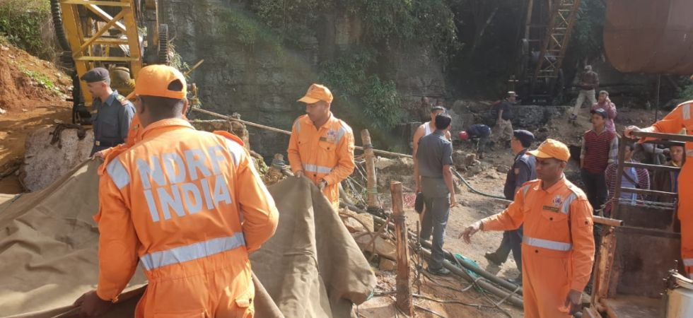 Rescuers works on as 15 miners were trapped inside a coal pit filled with gallons of water in Meghalaya's East Jaintia Hills district on December 14, 2018. (IANS photo)