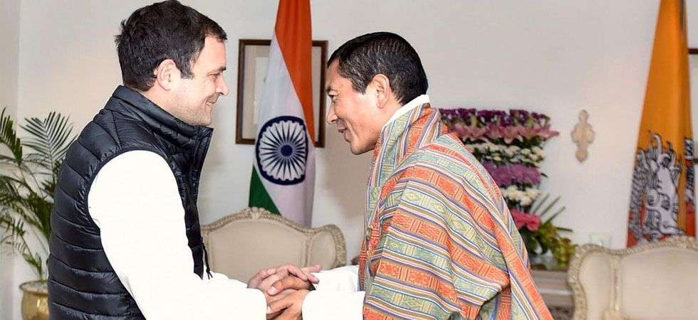 Congress president Rahul Gandhi (left) and Bhutan PM Lotay Tshering (Photo: Twitter/@RahulGandhi)
