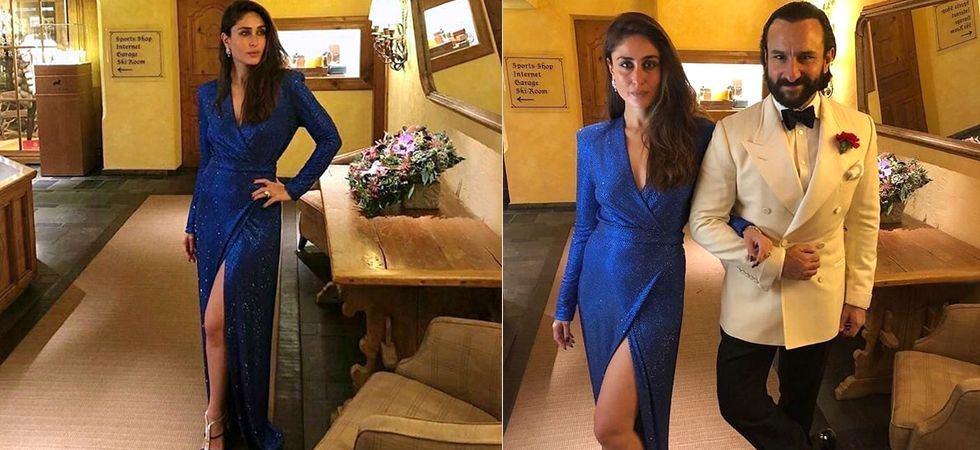 Kareena made yet another bomb appearance in a metallic blue slit gown./ Image: Instagram