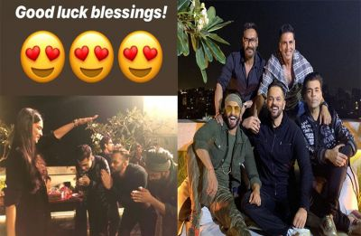 HILARIOUS! Deepika Padukone gives blessings to Ranveer Singh, Karan Johar and Rohit Shetty in THIS photo