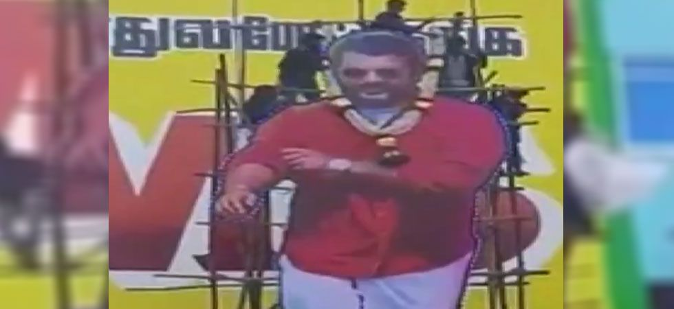 A massive cut out of actor Ajith collapses during paal abhishekam