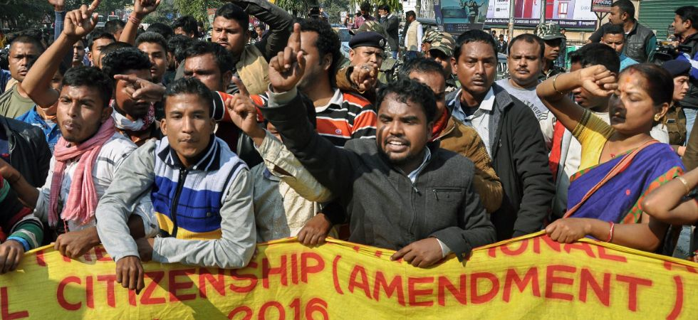 Activists of various indigenous organizations stage a protest rally in front of Assam Secretariat against the Citizenship (Amendment) Bill, 2016, in Guwahati, Wednesday, Jan 9, 2019. (PTI Photo)