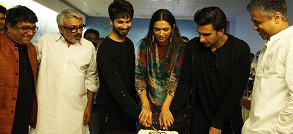 Deepika Padukone, Ranveer Singh and Shahid Kapoor celebrate the success of Padmaavat./ Image: Twitter