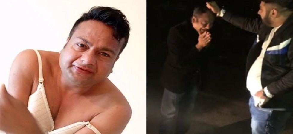 Deepak Kalal gets beaten up in Gurugram (Photo: Twitter)