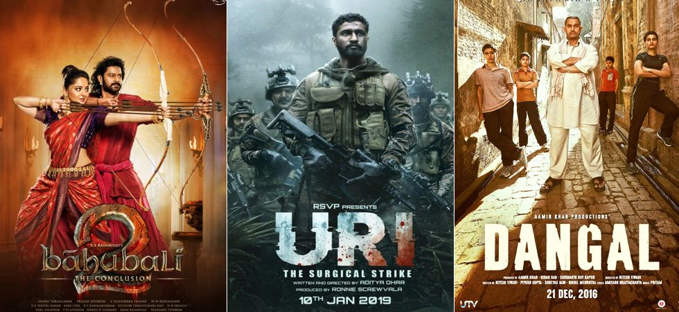 Uri has managed to outpower Prabhas starrer Baahubali and Aamir Khan's blockbuster hit Dangal./ Image: Film posters