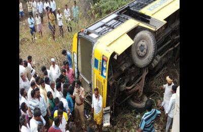 Andhra Pradesh: School bus carrying 50 children falls into culvert in Guntur, several injured