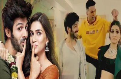 Luka Chuppi stars Kartik Aaryan and Kriti Sanon match steps with Akshay Kumar on song 'Poster Lagwa Do'