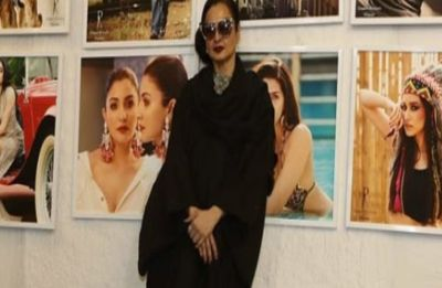 Watch: Rekha's reaction after accidentally posing in front of Amitabh Bachchan's pic will leave you in splits