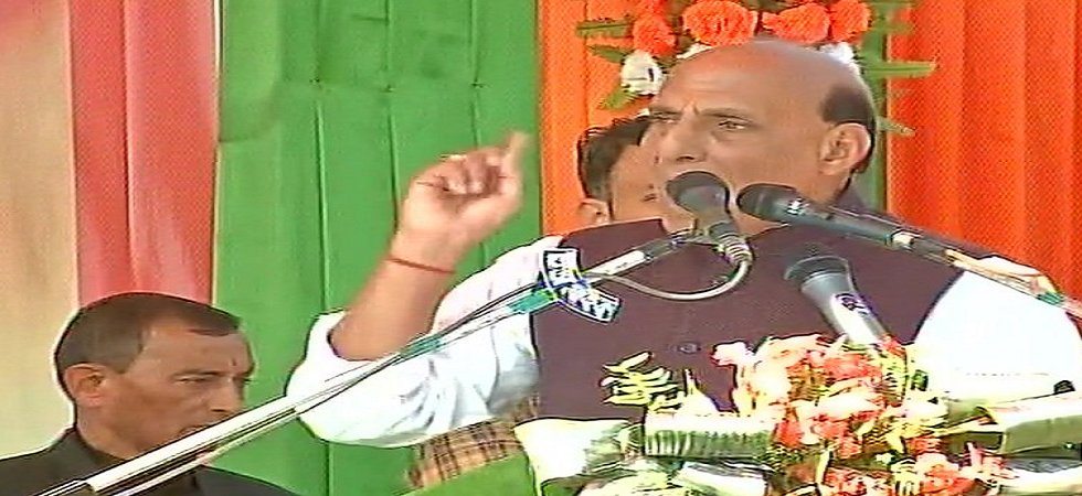 Union Home Minister Rajnath Singh addresses a rally in Falakata in Alipurduar district on Saturday. (ANI/Twitter)