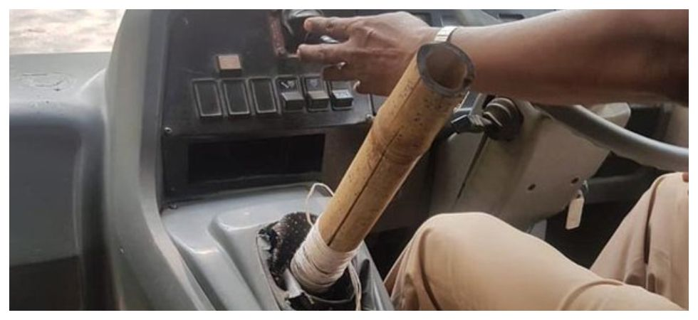 Mumbai School bus driver arrested for using bamboo stick as gear (Photo: Twitter)