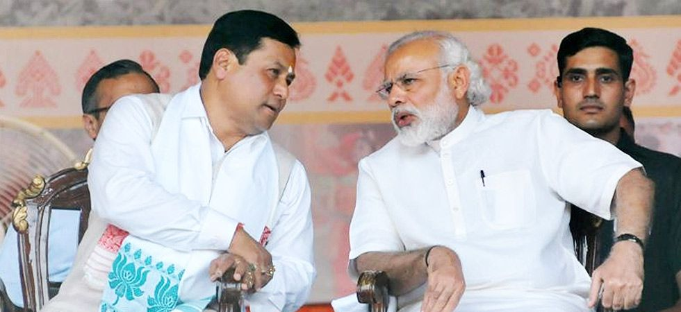 Assam Chief Minister Sarbananda Sonowal with Prime Minister Narendra Modi. The Sonowal-led Bharatiya Janata Party (BJP) has been ruling the state since 2016. This is the first BJP government in the state. (File photo: PTI)
