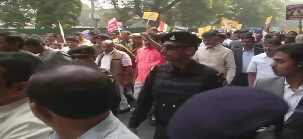 Andhra Pradesh Chief Minister Chandrababu Naidu on Tuesday lead a march in Delhi to demand special status for his state (Photo: Twitter@ANI)