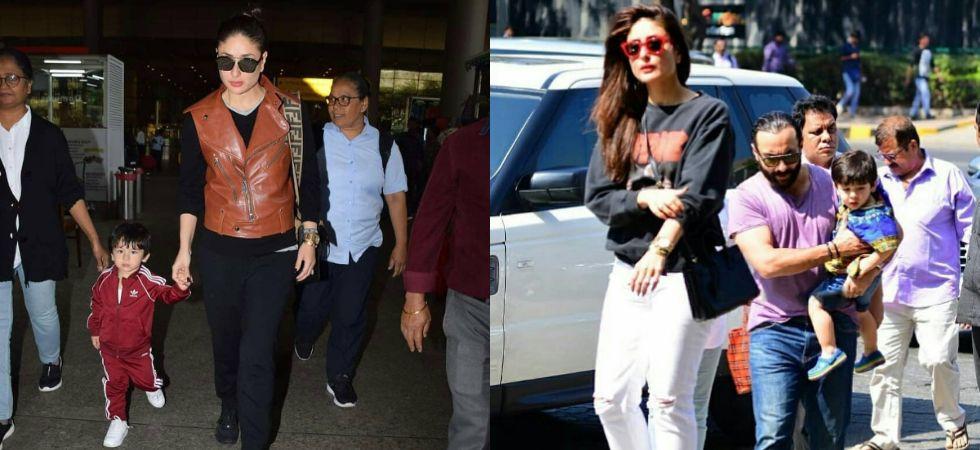 Kareena Kapoor and Saif Ali Khan step out with Taimur./ Image: Twitter