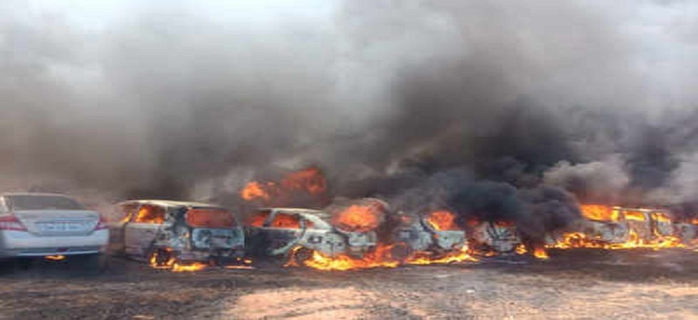 Over 100 cars gutted in fire at parking lot in Chennai's Porur